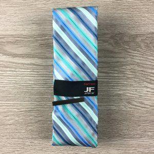 JF J. Ferrar Aqua Blue & Silver Striped Narrow Tie